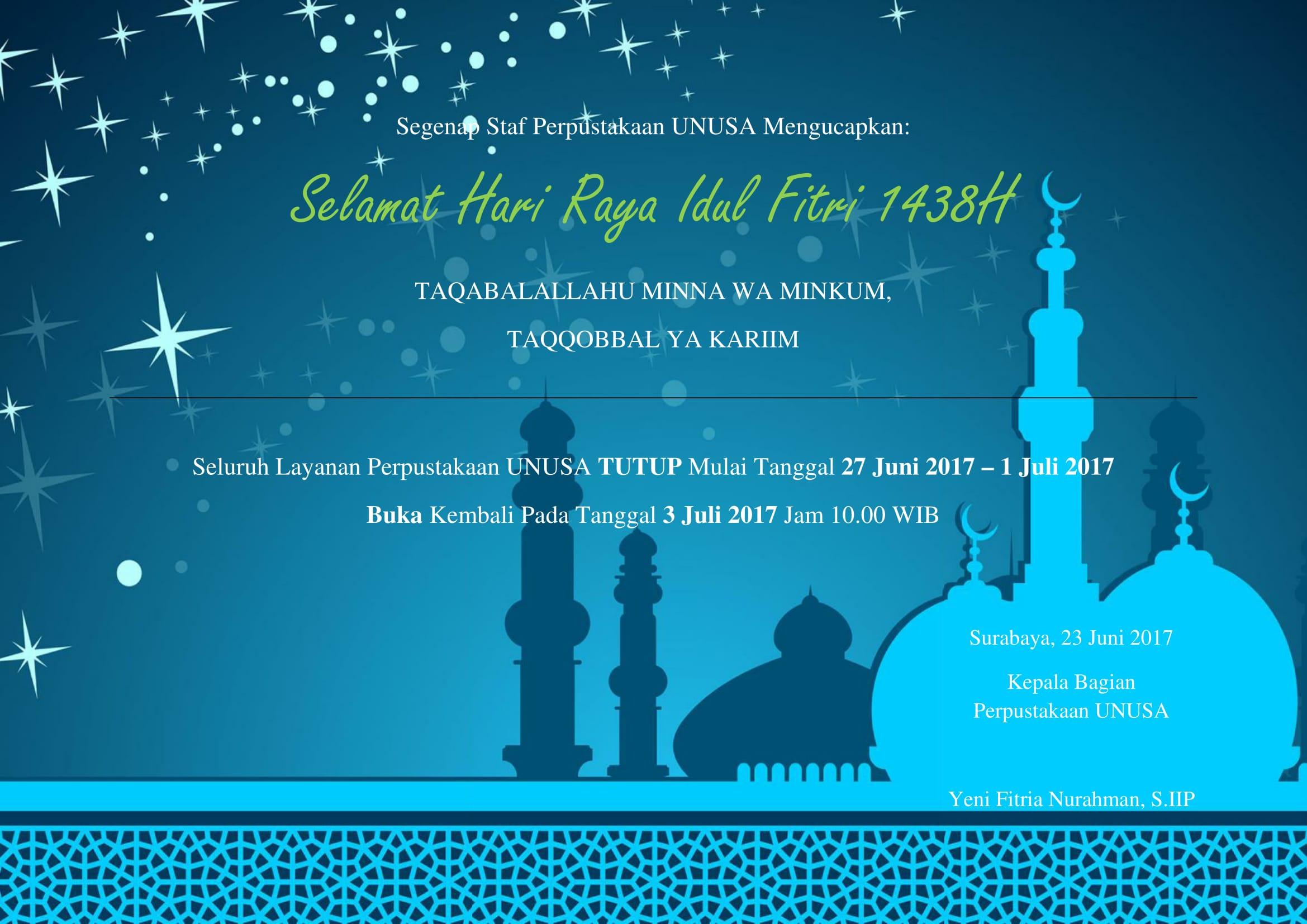 Ucapan Selamat Hari Raya Idul Fitri 1438 H Perpustakaan Universitas Nahdlatul Ulama Surabaya